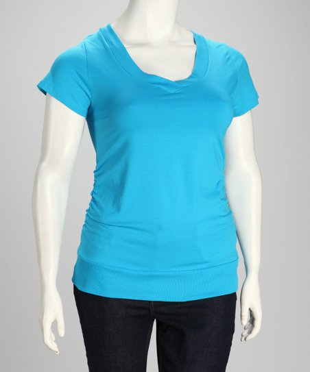 Tropical Aqua Plus-Size V-Neck Tee