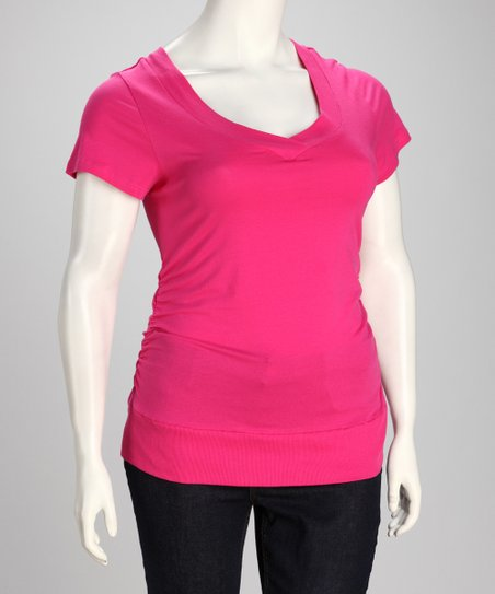 Pink Lightning Plus-Size V-Neck Tee