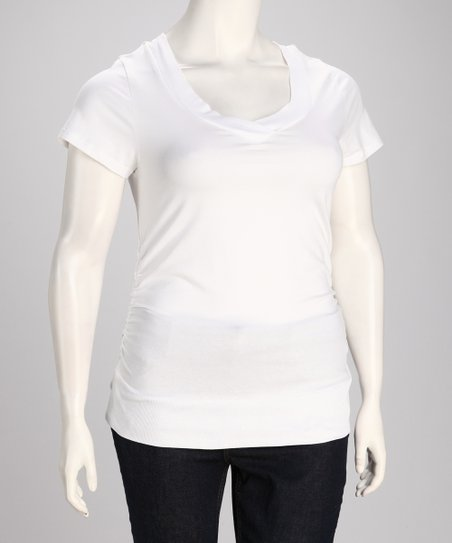 White Plus-Size V-Neck Tee