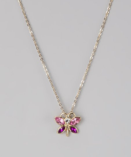 Pink & Purple Butterfly Necklace