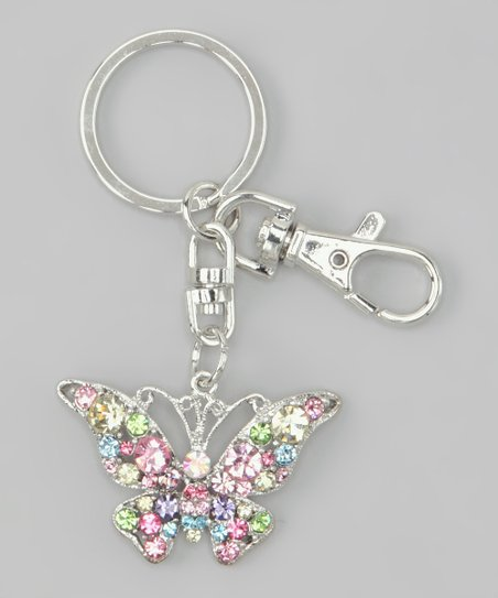 Rainbow Crystal Butterfly Key Chain
