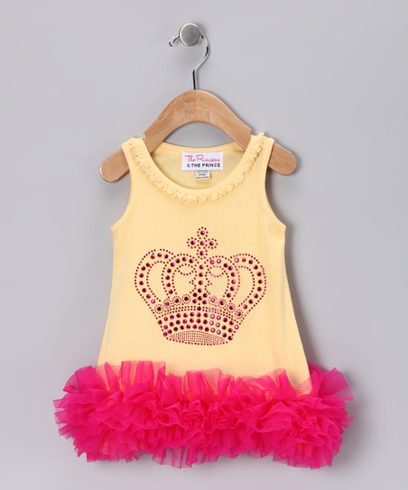 Yellow & Pink Crown Ruffle Dress - Infant, Toddler & Girls