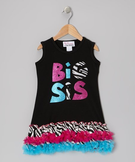 Black Zebra 'Big Sis' Ruffle Dress - Infant, Toddler & Girls