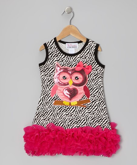 White Zebra Sequin Owl Ruffle Dress - Infant, Toddler & Girls