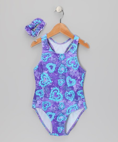 Purple &amp; Aqua Hearts One-Piece &amp; Hair Tie