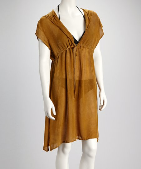 Khaki Drawstring Cover-Up - Women