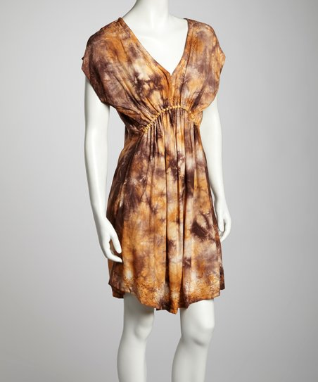 Chocolate & Khaki Tie-Dye Cap-Sleeve Dress