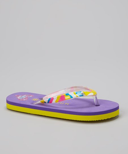 Purple & Yellow Heart Flip-Flop