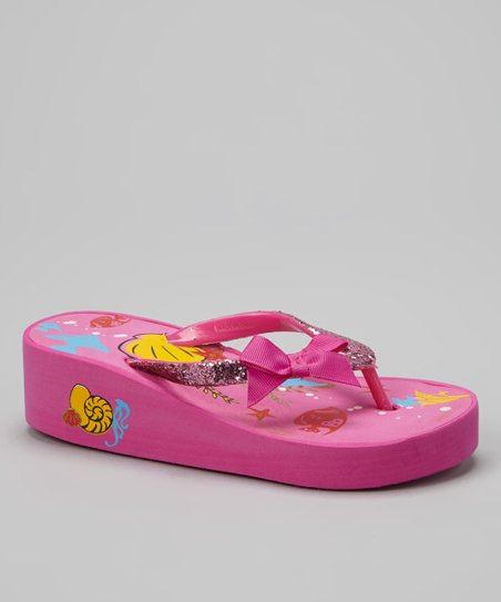 Pink & Yellow Seascape Bow Wedge Flip-Flop