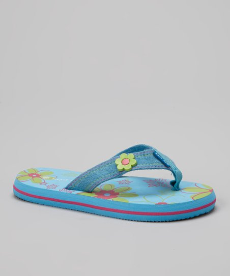 Blue & Lime Green Flower Flip-Flop