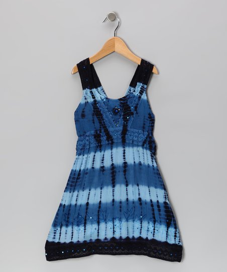 Navy Dip-Dye Sequin Dress - Toddler