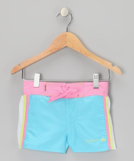 Blue Color Block Drawstring Shorts - Girls