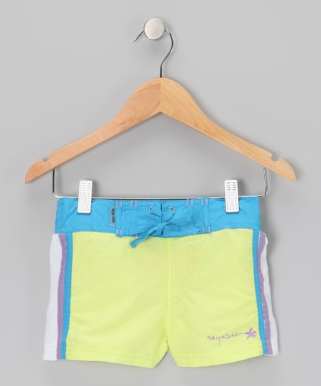 Lime Color Block Drawstring Shorts - Girls