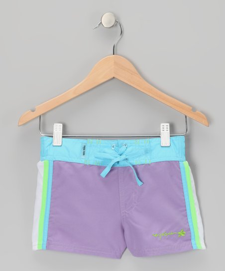 Purple Color Block Drawstring Shorts
