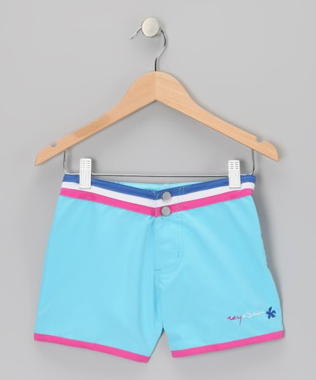Blue Stripe-Waist Shorts