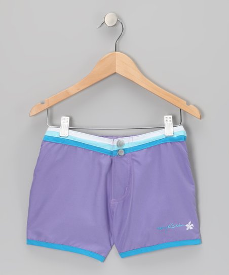 Purple Stripe-Waist Shorts