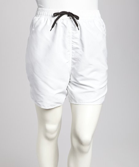 White Pocketed Plus-Size Boardshorts
