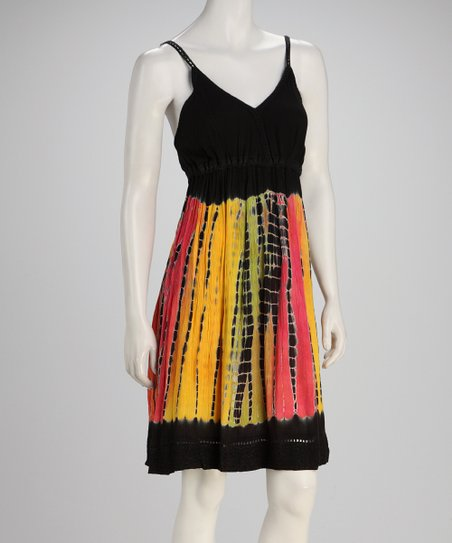 Black Earth Tie-Dye Empire-Waist Dress