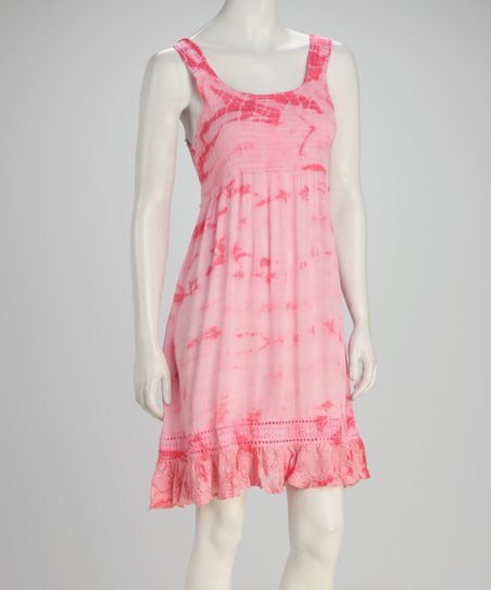Coral Cloudy Tie-Dye Empire-Waist Dress