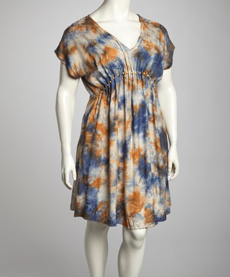 Navy & Khaki Tie-Dye Plus-Size Cap-Sleeve Dress