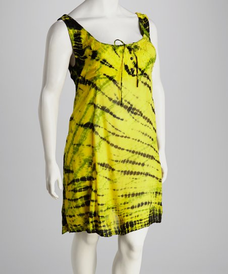 Lime Tie-Dye Plus-Size Dress