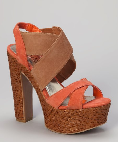 Peach Terra Suede Artifact Sandal