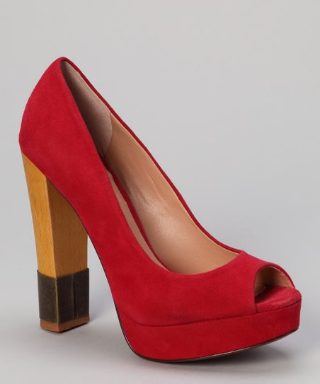 Red Suede Divine Peep-Toe Pump