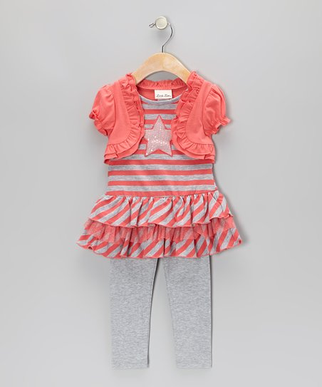 Coral Stripe Layered Tunic & Leggings - Infant & Girls