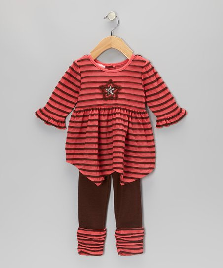 Coral Stripe Star Tunic & Leggings - Toddler