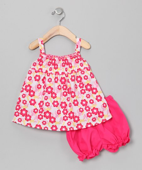 Pink &amp; Yellow Flower Swing Dress &amp; Bloomers - Infant