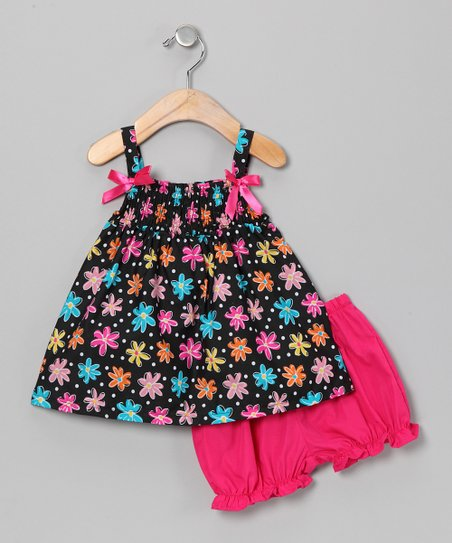 Black & Rainbow Flower Swing Dress & Bloomers - Infant