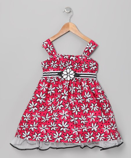 Red & Black Daisy Babydoll Dress - Infant, Toddler & Girls