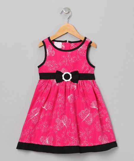 Pink & Black Butterfly A-Line Dress - Girls
