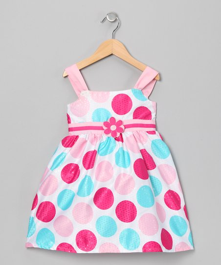 Pink & Aqua Flower Polka Dot Dress - Toddler & Girls