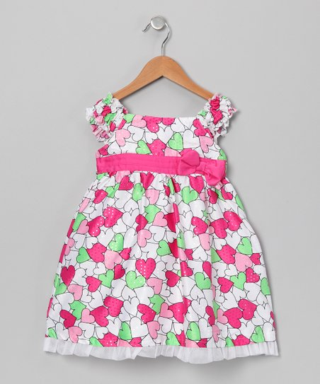 Pink & Lime Heart Babydoll Dress - Infant, Toddler & Girls