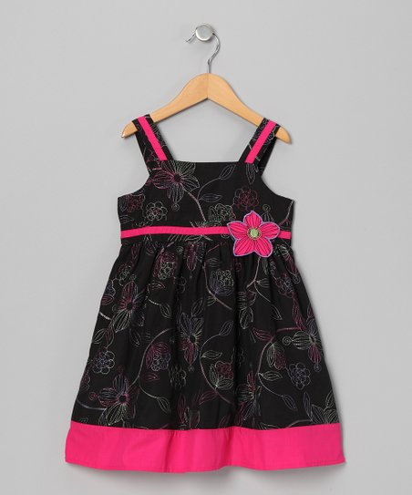 Black & Pink Hibiscus Dress - Toddler & Girls