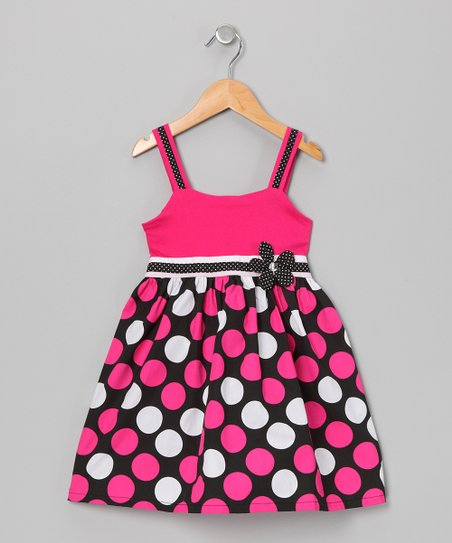 Hot Pink & Black Polka Dot Dress - Girls