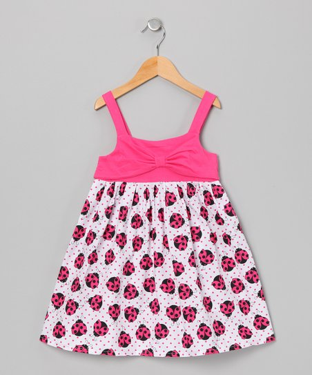 Pink Ladybug Bow Dress - Toddler & Girls