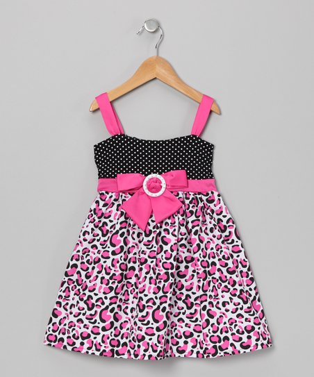 Pink Leopard Bow Dress - Toddler & Girls