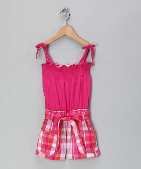 Fuchsia Plaid Shirred Romper - Infant & Girls