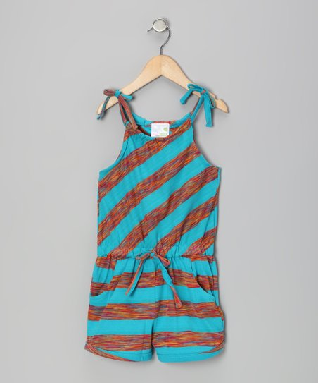 Blue & Orange Stripe Romper - Girls
