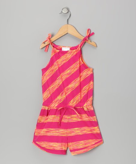 Pink & Yellow Stripe Romper - Girls