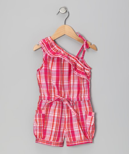 Pink Plaid Asymmetrical Ruffle Romper - Infant, Toddler & Girls