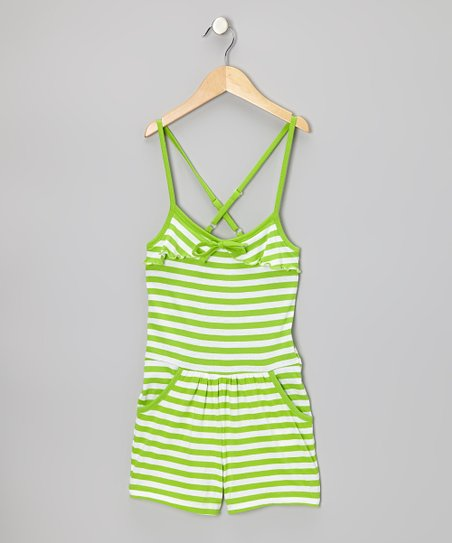 Lime & White Stripe Romper - Girls
