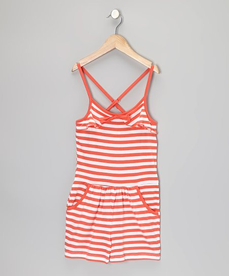 Mango & White Stripe Romper - Infant, Toddler & Girls