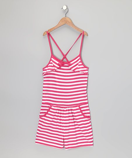 Pink & White Stripe Romper - Infant, Toddler & Girls