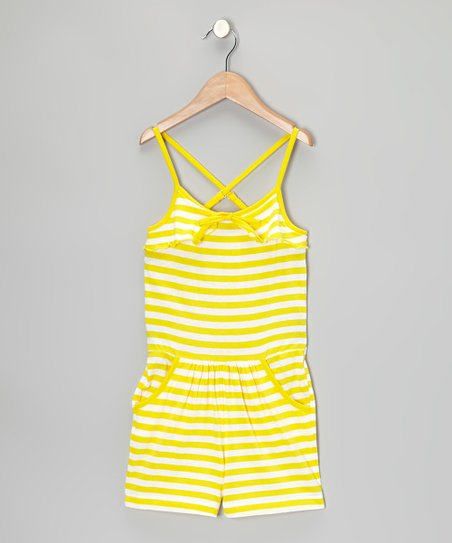 Yellow & White Stripe Romper - Infant, Toddler & Girls