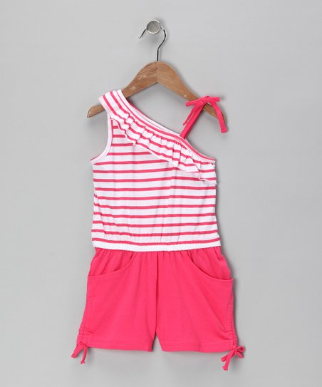 Coral Bing Stripe Asymmetrical Romper - Infant &amp; Girls