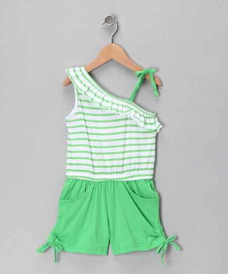 Lime Ricky Stripe Asymmetrical Romper - Infant & Girls