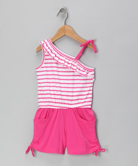 Pink Fever Stripe Asymmetrical Romper - Infant & Girls